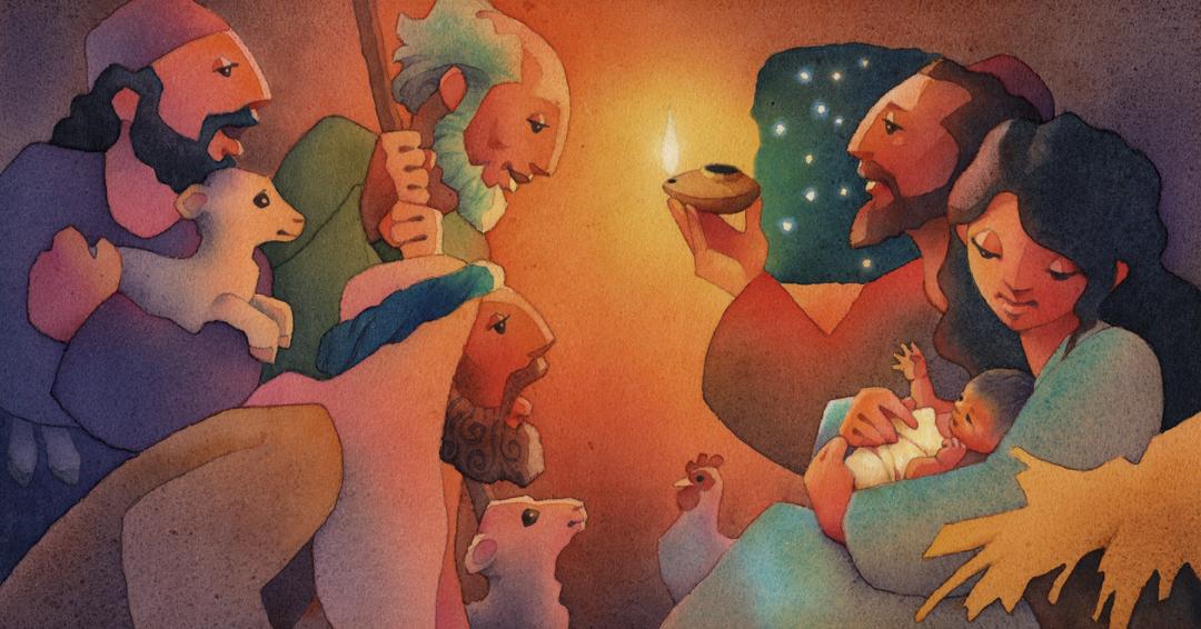 Christmas storybook-shepherds at manger